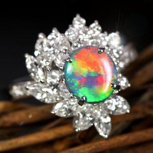 オーストラリア産ブラックオパール1ct ダイヤモンド1.26ct プラチナ リング(指輪)【品質保証書/宝石鑑別書付】 premium-outlet