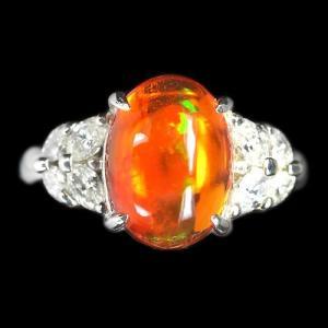 メキシコオパール3.8ct ダイヤモンド0.6ct プラチナ リング(指輪)【品質保証書/宝石鑑別書付】【動画あり】 premium-outlet