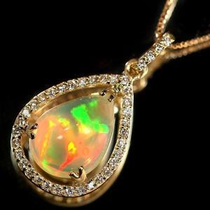 エチオピア産ウェロオパール1.6ct ダイヤモンド ペアシェイプ イエローゴールド ネックレス【品質保証書/宝石鑑別書付】 premium-outlet