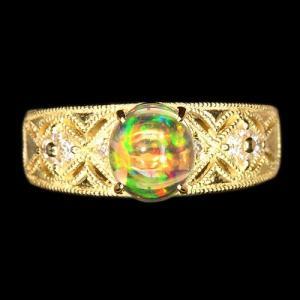 メキシコオパール0.9ct ダイヤモンド イエローゴールド リング(指輪)【品質保証書/宝石鑑別書付】【動画あり】 premium-outlet