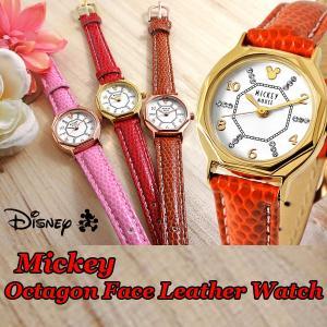 Disneyミッキー八角形腕時計(ディズニー,DISNEY,ウォッチ,レディース,本革ベルト,風水腕時計,八角形腕時計)|premium-pony