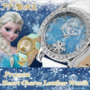 Disneyアナと雪の女王ハートチャーム腕時計(DISNEY,ウォッチ,レディース,本革ベルト,アナ雪公式グッズ,アナ雪腕時計,ギフト腕時計,FROZEN,DISNEY公式ライセンス)|premium-pony
