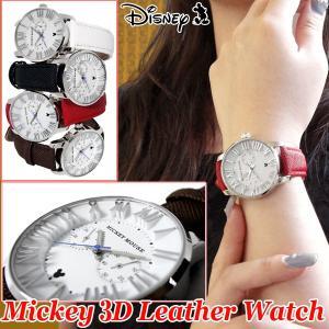 Disneyミッキー3Dレザーウォッチ(ディズニー,DISNEY,Mickey,男女兼用,本革ベルト,腕時計,レザーベルト,ギフト,立体インデックス,ミッキーフェイス)|premium-pony
