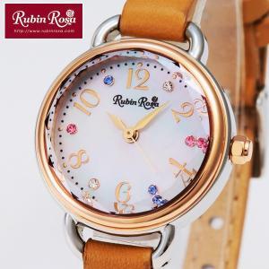 送料無料Rubin RosaソーラーセラミックレディースウォッチR019(ルビンローザ,腕時計,ソーラーチャージウォッチ,レザーベルト,カラフルクリスタル,光,充電)|premium-pony