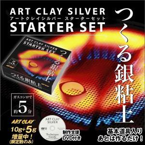 アートクレイシルバースターターセット(粘土+5g増量)(純粘土 15g 純銀99.9% 焼成 手作り オリジナル アクセサリー コンロで5分 DVD レシピ)|premium-pony