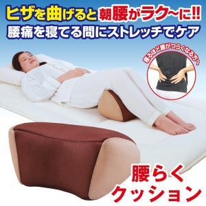 腰らくクッション (腰用ストレッチ枕 腰痛 つらい腰に 男女兼用 ビーズクッション 寝ている間 ストレッチケア 腰が楽 膝を曲げて寝る)|premium-pony