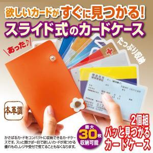 パッと見つかるカードケース2個組 (30枚収納 スライド式カードケース カード収納 くるっと開く 大容量 カード整理 素早く出し入れ ボタン式)|premium-pony