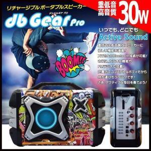 Bluetoothリチャージブルポータブルスピーカー「デシベルギアPro30」PS-DG001(スマホ 高音質 30W FMラジオ カラオケ パフォーマンス LED)|premium-pony