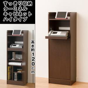 送料無料すっきり収納・ターミネルキャビネットハイタイプ (電話台,FAX台,収納ラック,木製家具,組み立て,120cm)の写真