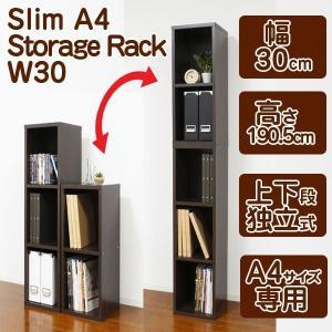 スリムA4ファイル収納BOX/W30(隙間家具 隙間収納家具 送料無料 A4サイズ書類専用ラック)|premium-pony