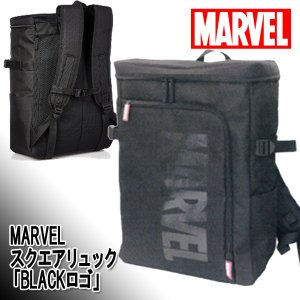 MARVELスクエアリュック「BLACKロゴ」(マーベル バッグ リュックサック デイパック バックパック 大容量 鞄 かばん サイドポケット)|premium-pony