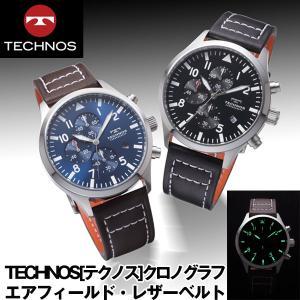 送料無料TECHNOS「テクノス」クロノグラフ・エアフィールド・レザーベルト (腕時計,本革ベルト,日本製クォーツ)|premium-pony