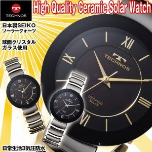 TECHNOSテクノスセラミックソーラーウォッチ(テクノス 腕時計 メンズ ソーラーウォッチ 充電 電池交換不要 SEIKO セイコー )