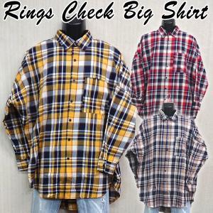 RINGSチェックBIGシャツ (メンズ 長袖 ビッグシャツ 綿 コットン カジュアルシャツ アウターシャツ ダボシャツ シャツジャケ 流行)|premium-pony