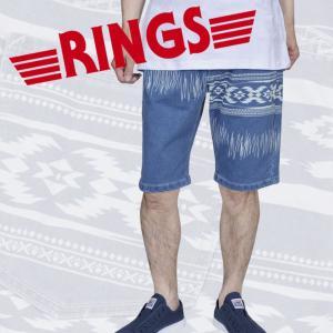 Ringsネイティブ柄抜染プリントデニムパンツ(リングス,メンズ,サックスブルー,ハーフパンツ,ハーフデニム,ショートデニム)|premium-pony