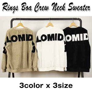 RINGSボアクルーネックセーター (メンズ 丸首 長袖 トレーナー モコモコファー ボアトレーナー 毛足の長い 柔らかい ふんわり 暖かい リングス)|premium-pony