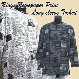 RINGS NEWSPAPERロングTシャツ(おすすめメンズファッション メンズ カットソー メンズセーター メンズ綺麗目カットソー)|premium-pony