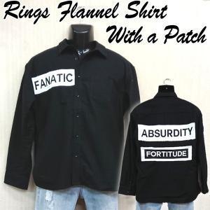 RINGSワッペン付ネルシャツ (メンズ 長袖 カジュアルシャツ ブラック 起毛シャツ シャツジャケ アウターシャツ リングス おすすめ)|premium-pony