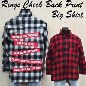 RINGSバックプリントBIGシャツ (メンズ 長袖 カジュアルシャツ チェックシャツ ネルシャツ 起毛シャツ アウターシャツ リングス)|premium-pony