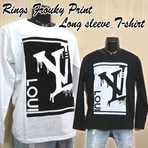 RINGSフロッキープリントロンT(おすすめメンズファッション  メンズ カットソー メンズセーター メンズ綺麗目カットソー)|premium-pony