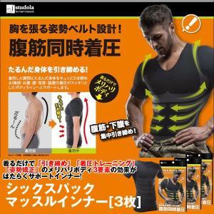 シックスパック マッスルインナー「3枚」(メンズ,Tシャツ,ダイエットインナー,加圧シャツ,着圧,姿勢矯正,半袖,引き締め,エクササイズ,加圧下着)|premium-pony