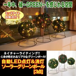 自動LED点灯&消灯ソーラーグリーンボール[3点] (LEDイルミネーションライト,観葉植物,緑,グリーン,充電,防滴仕様,ライティング)|premium-pony