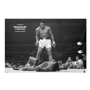 追悼モハメドアリ名場面ポスター(ヨコ/アリvsリストン)(ボクシング元世界ヘビー級チャンピオン,異種格闘技戦,炎のファイター,アリ・ボマイエ)|premium-pony