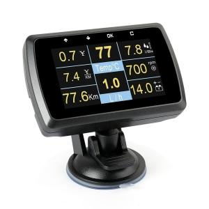 ヘッドアップディスプレイ 多機能メーター Ancel A501 HUD OBD2 燃料消費 温度計 ...