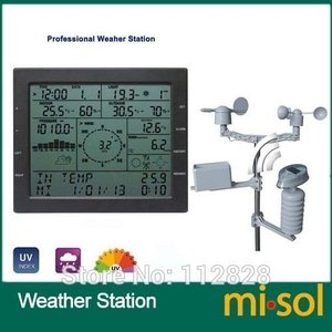 Misol プロフェッショナル ウェザー ステーション 風速 風向 雨計 圧力 温度 湿度 UV 測...