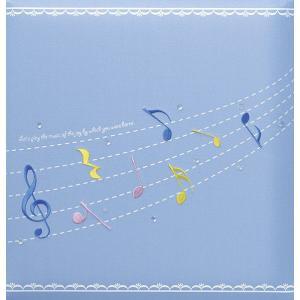 出産祝いアルバム 台紙が増やせる 赤ちゃんのお名前が入る 刺繍名入れ 赤ちゃん誕生アルバム 173-050 音符ブルー|presentehon