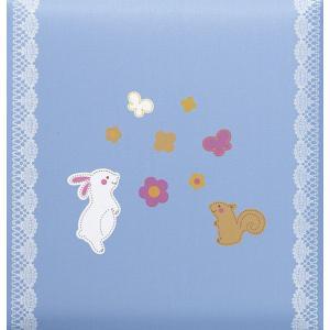 出産祝いアルバム 台紙が増やせる 赤ちゃんのお名前が入る 刺繍名入れ赤ちゃん誕生アルバム 175-045 ウサギとリスブルー|presentehon