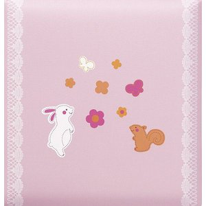 出産祝いアルバム 台紙が増やせる 赤ちゃんのお名前が入る 刺繍名入れ赤ちゃん誕生アルバム 176-045 ウサギとリスピンク|presentehon