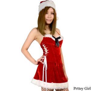 サンタ コスプレ スリムレースアップワンピース クリスマス 衣装|prettygirl