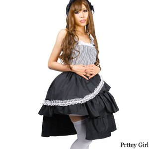 BERUNIKA/ゴスロリワンピース ストライプ&カットフリルツーピース 黒 ロリータ ロリィタ|prettygirl