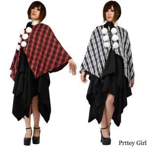 BERUNIKA/ゴスロリ アシメワンピース チェック柄ケープ付き 黒 赤 白 カラー2色|prettygirl