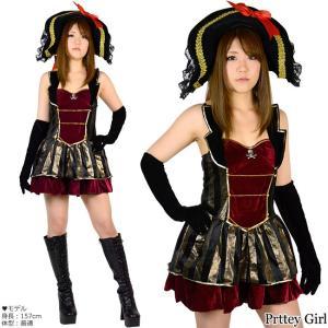海賊ゴシックパイレーツワンピース 帽子付き コスプレ 衣装 仮装 ハロウィン|prettygirl