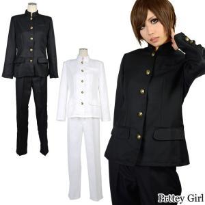 学ラン 肩パッド入り 黒 白 男装 学生服 コスプレ 衣装 カラー2色|prettygirl
