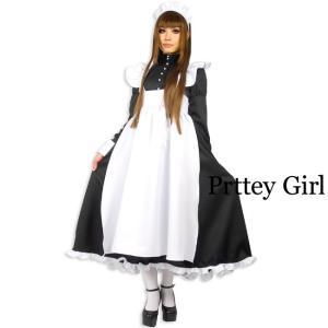 パールラインロングメイド服 コスプレ 長袖 大きいサイズ|prettygirl