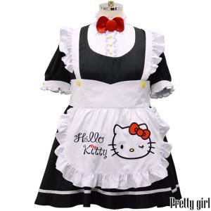 ハローキティ × 8mm  ハローキティメイドコスチューム  大きいサイズ コスプレ 衣装 メイド服 キティ メイドドレス|prettygirl