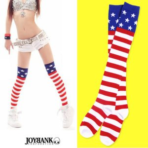 ニーハイソックス 星条旗 アメリカン 赤白 ハイソックス スター ボーダー  ソックス ゆうパケット2点まで[M便 1/2]|prettygirl