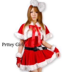サンタ衣装 BIGボアりぼんカチューシャ付きベアワンピース|prettygirl