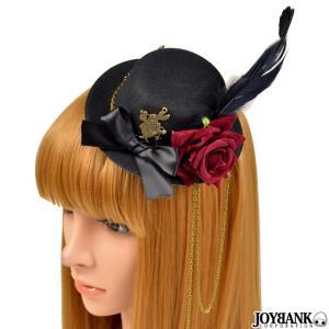 ミニハット ヘッドドレス 帽子 髪飾り ヘアアクセサリー薔薇 ローズ 羽根 白うさぎ うさぎ 時計ウサギ アリス  アンティーク ゴスロリ コスプレ prettygirl