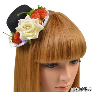 ミニハット いちご 薔薇  ヘッドドレス 帽子 フルーツ フラワー レース ヘアアクセサリー コスプレ ゴスロリ prettygirl
