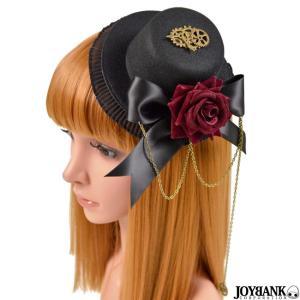 ミニハット ヘッドドレス 帽子 髪飾り ヘアアクセサリー 薔薇 ローズ  ギア ブリキ レース アンティーク ゴスロリ コスプレ prettygirl