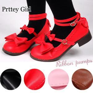 リボン付きロリータ靴 大きいサイズ コスプレ カラー4色|prettygirl