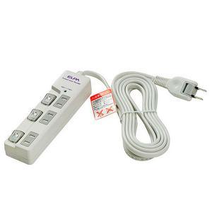 ELPA LEDランプスイッチ付きタップ 耐雷サージ機能付 WBS-LU303B(W)|prettyw