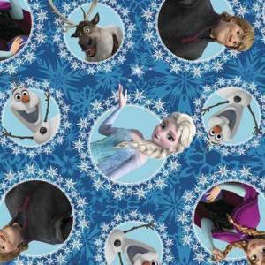 アナと雪の女王のプリント生地です。 エルサ、アナ、オラフ、クリストフ、スヴェンのプリント。 ブルー地...