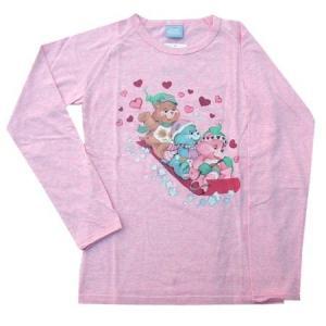 ケアベアのロングスリーブTシャツです。白の混じった柔らかい印象のピンクに、レトロ柄のLOVEをモチー...