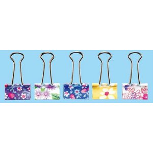 ソニック 花柄ダブルクリップ 花柄アソート クリップ幅32mm 綴じ枚数約130枚 5個入 GP−474|prezataisaku