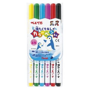 ぺんてる 洗たくでキレイカラーペン  1.5mm 6色セット SCS2−6 prezataisaku